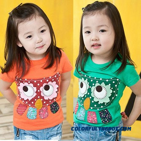Owl Girls Children's Clothing Baby Kids Casual Short-sleeved T-shirt Green - more images 1