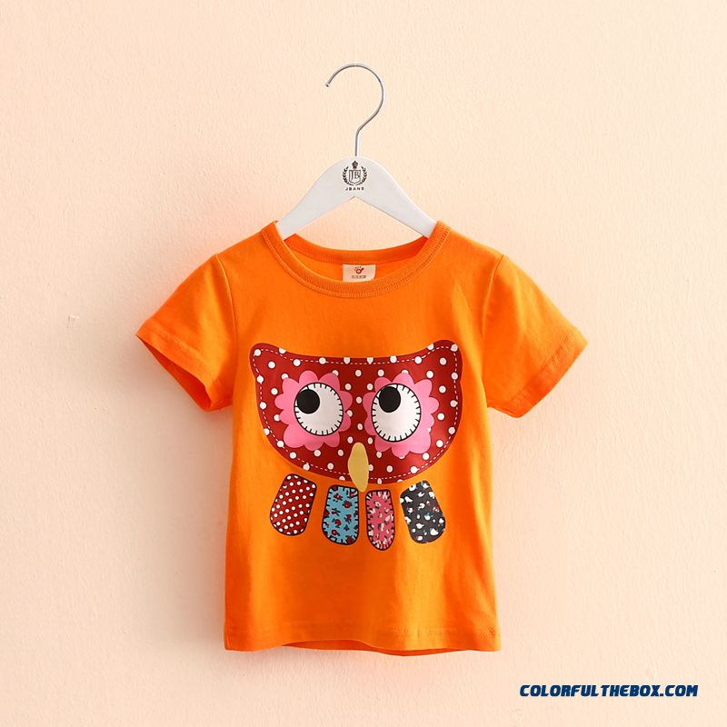 Owl Girls Children's Clothing Baby Kids Casual Short-sleeved T-shirt Green - more images 2