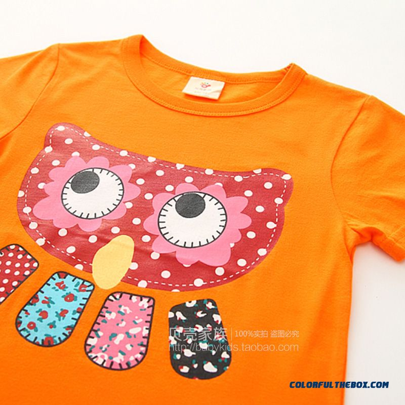 Owl Girls Children's Clothing Baby Kids Casual Short-sleeved T-shirt Green - more images 4