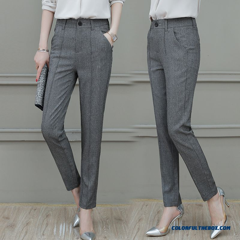 Pants 2019 Leisure Ninth Pants Thin Gray Cotton Summer Women's New All-match Harlan
