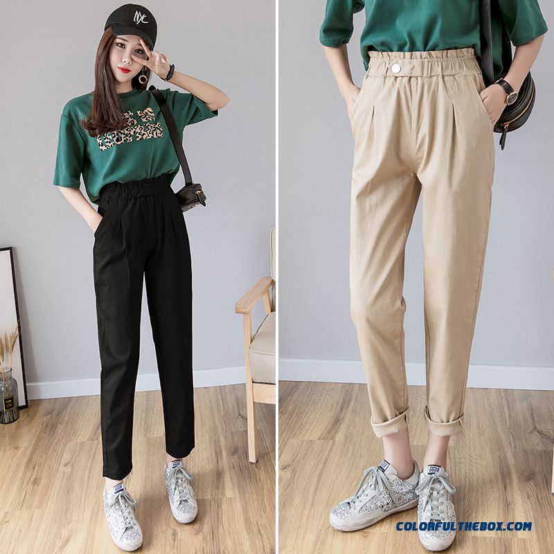 Pants Europe 2019 Summer Loose Leisure Women's New Harlan Khaki Straight Pants Tooling Spring All-match