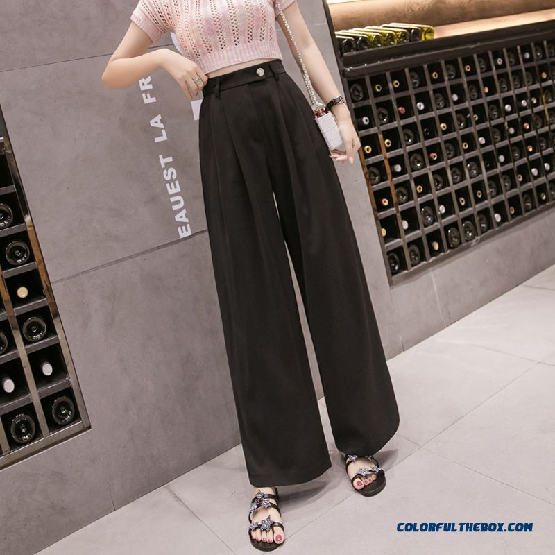 Pants Europe Women's Leisure 2019 Pants Summer High Waist Black Loose Thin Trousers New