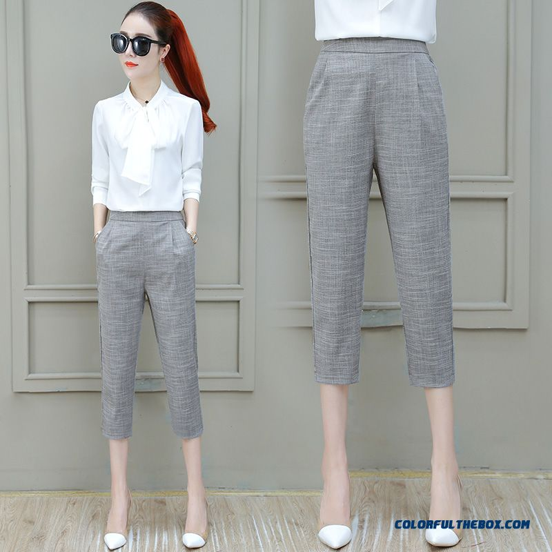 Pants Fashion Women's Leisure Summer Skinny 2019 Harlan Loose Straight Pants New Gray Thin