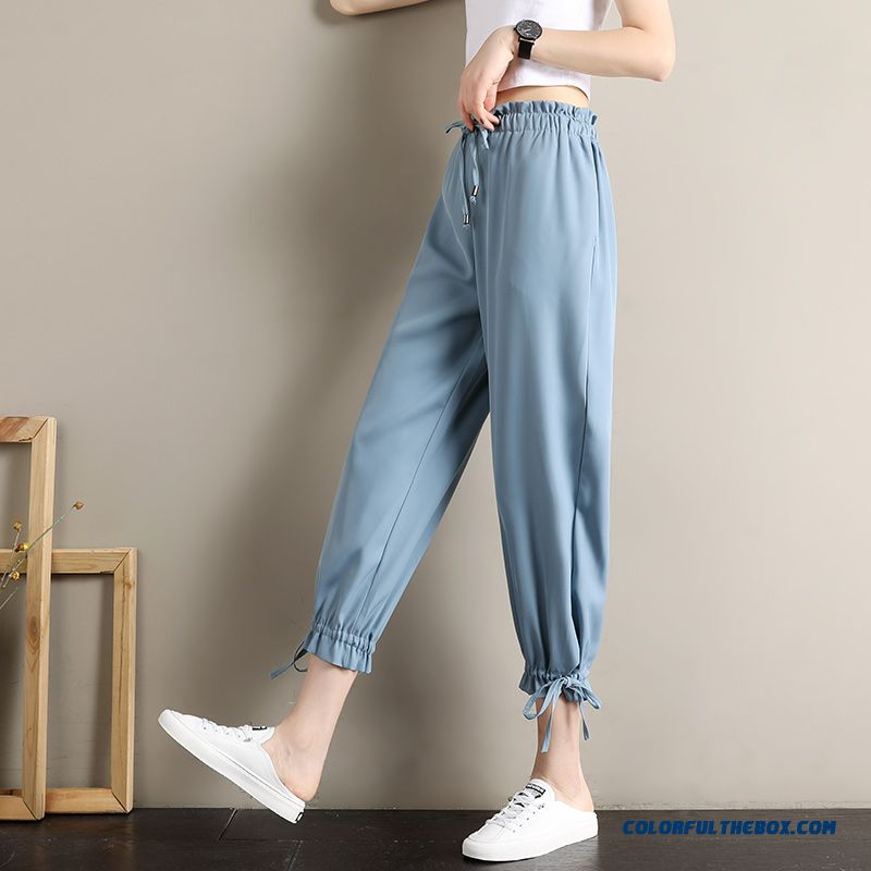 Pants High Waist Chiffon Women's Pants Blue Flower 2019 Leisure New Summer Loose