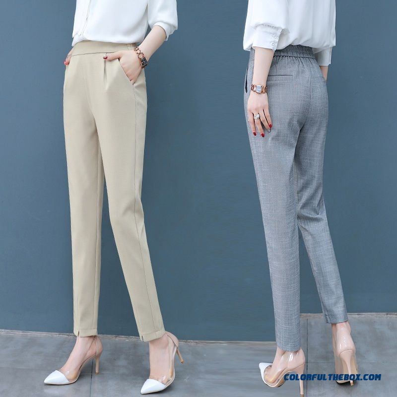 Pants High Waist Women's Gray Thin Pants Harlan 2019 Summer New Skinny Professional Leisure