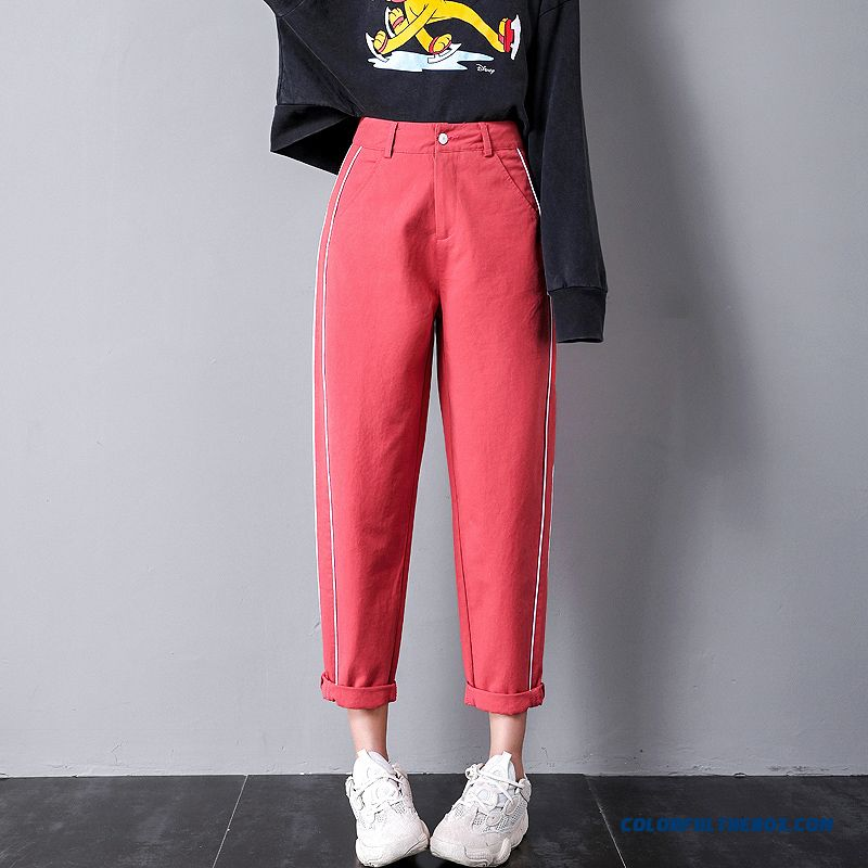 Pants Leisure 2019 Ninth Pants Spring Loose New Thin Harlan Red Black Women's High Waist Autumn