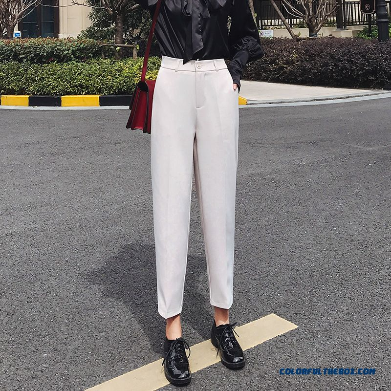 Pants Leisure High Waist Black 2019 Women's Summer Pants Suit New Professional White Straight Loose