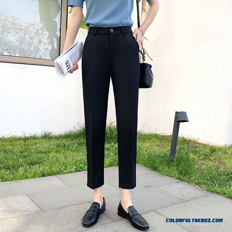 Pants Leisure Loose Thin Suit New Pants 2019 Straight Women's Summer Harlan Black High Waist