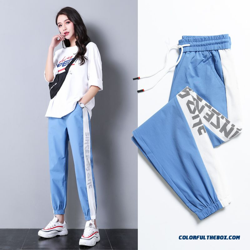 Pants Leisure New Women's 2019 Skinny Summer Straight Sport Pants Blue Loose