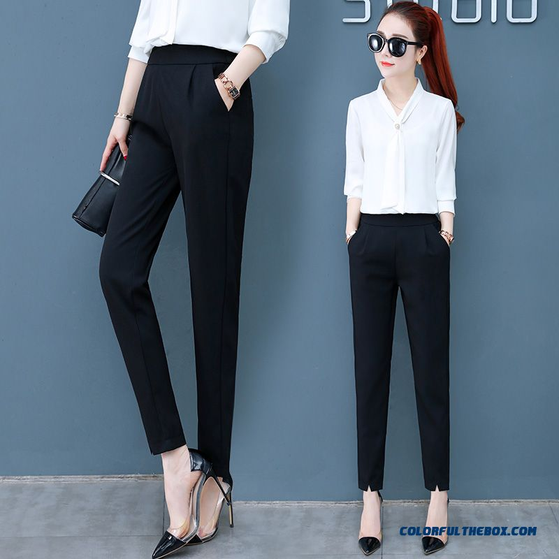 Pants Leisure Skinny Pants Professional Women's Summer High Waist New Harlan 2019 Thin Black