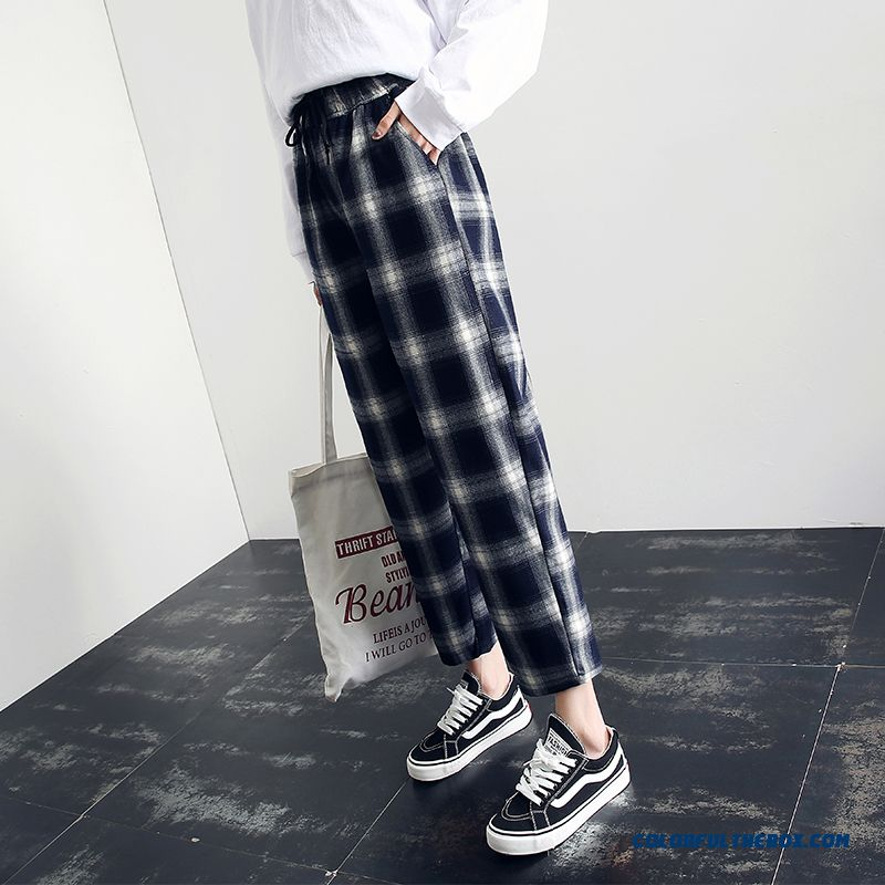Pants New Black Skinny Loose Pants Women's Europe White Blue High Waist Summer 2019 Straight Checks Leisure