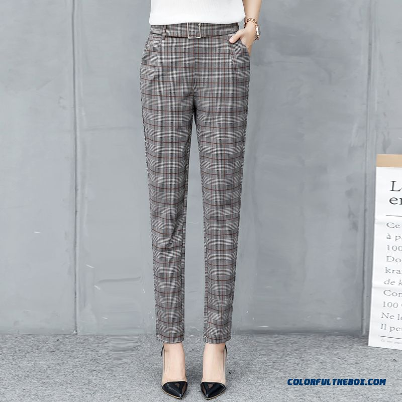 Pants New Leisure 2019 Women's Trousers High Waist Pants Harlan Gray Summer Straight Europe Checks Loose