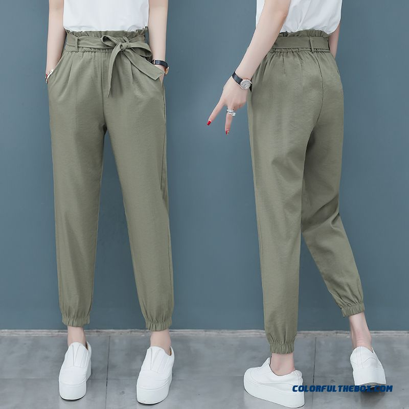 Pants Pants Europe Summer Straight Ninth Pants Military Green Flower New Harlan Thin All-match Women's Leisure Loose