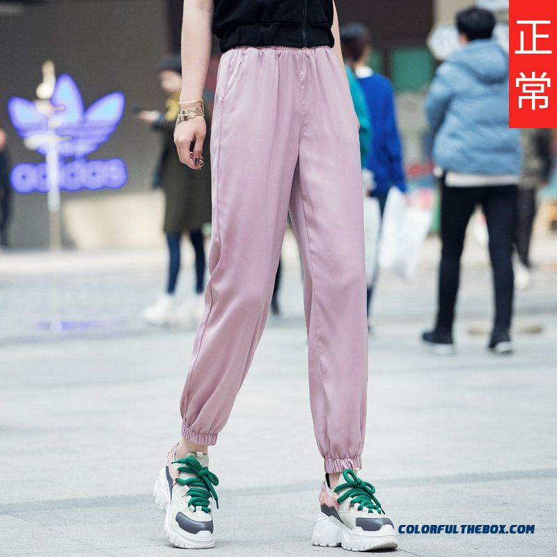 Pants Pants Plus Length Thin High Waist Ninth Pants Harlan Women's Loose Pink Summer Skinny Leisure