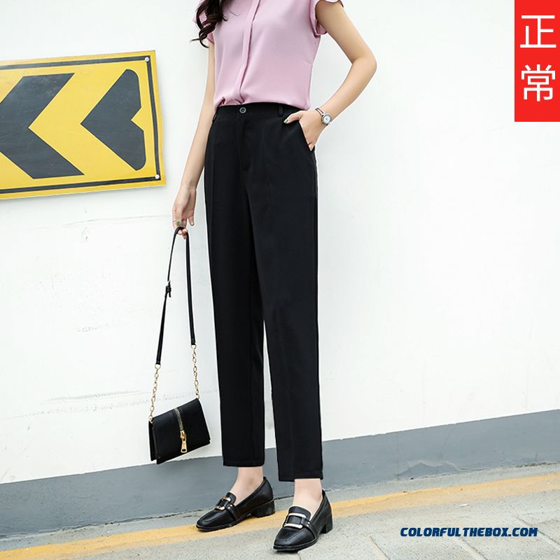 Pants Plus Length Professional Summer Thin Suit Skinny Harlan Straight Loose Leisure Women's Black Pants