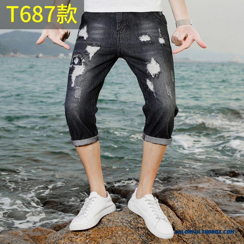 Pants Short Pants Slim Cropped Trousers Leisure Black Men's Skinny Trend Hole Summer