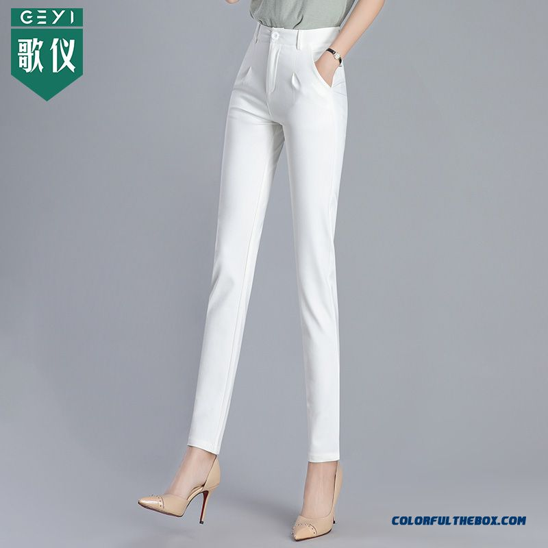 Pants Skinny Thin Summer Professional Women's Loose Trousers Spring Pants White Autumn Straight Leisure High Waist
