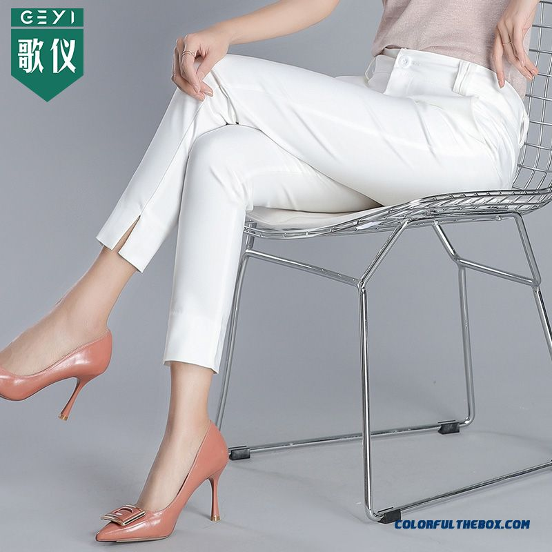 Pants Skinny White Summer High Waist Women's Pants Loose Ninth Pants Leisure Thin Straight Tooling