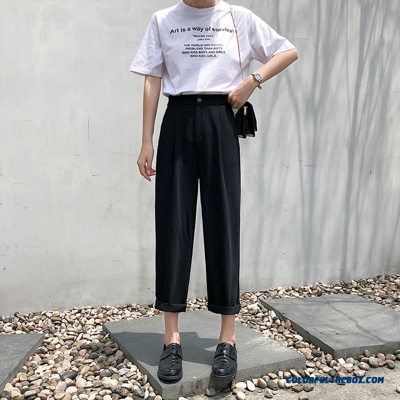 Pants Skinny Women's 2019 Black Summer Ninth Pants High Waist Loose Leisure Europe Straight New Suit