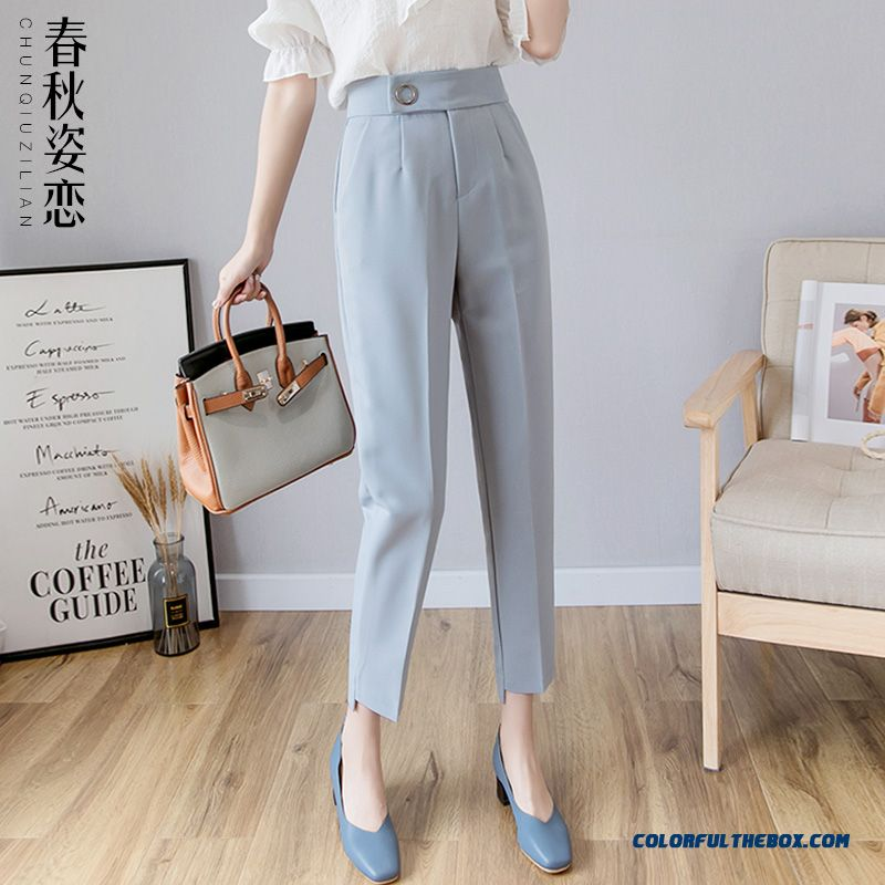 Pants Summer Leisure Straight Pants Women's Loose Harlan Blue Autumn Ninth Pants High Waist Skinny Professional Spring