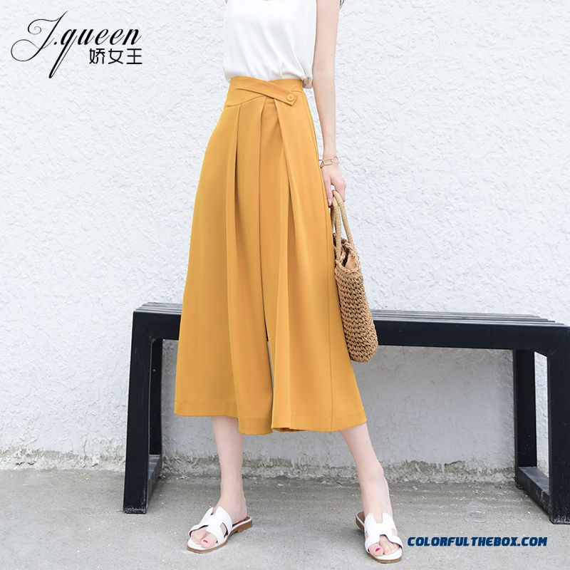Pants Summer Straight Yellow Loose Pants Europe Red Women's New High Waist Leisure Cropped Trousers