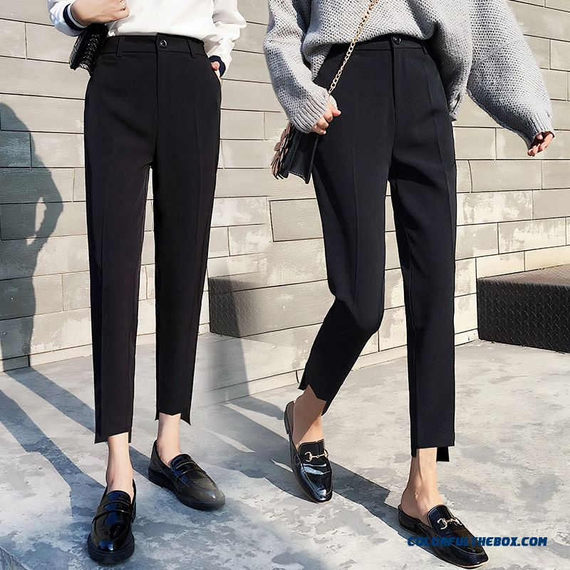 Pants Summer Suit Black Large Size Loose Skinny Women's Straight Leisure Pants High Waist