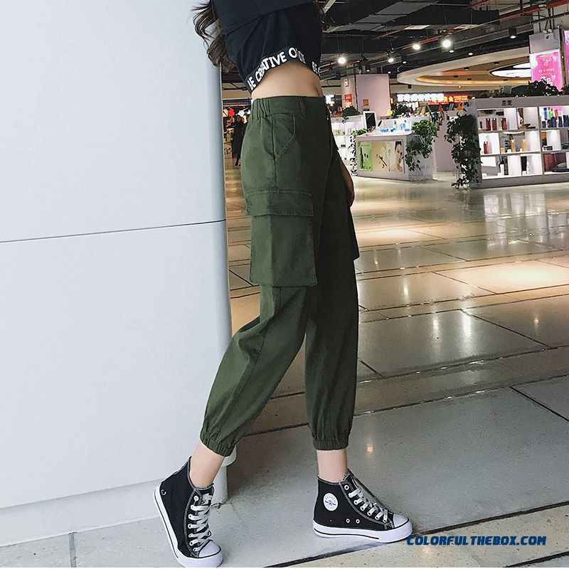 Pants Thin High Waist Harlan Women's Loose Straight Pants Leisure Tooling Military Green
