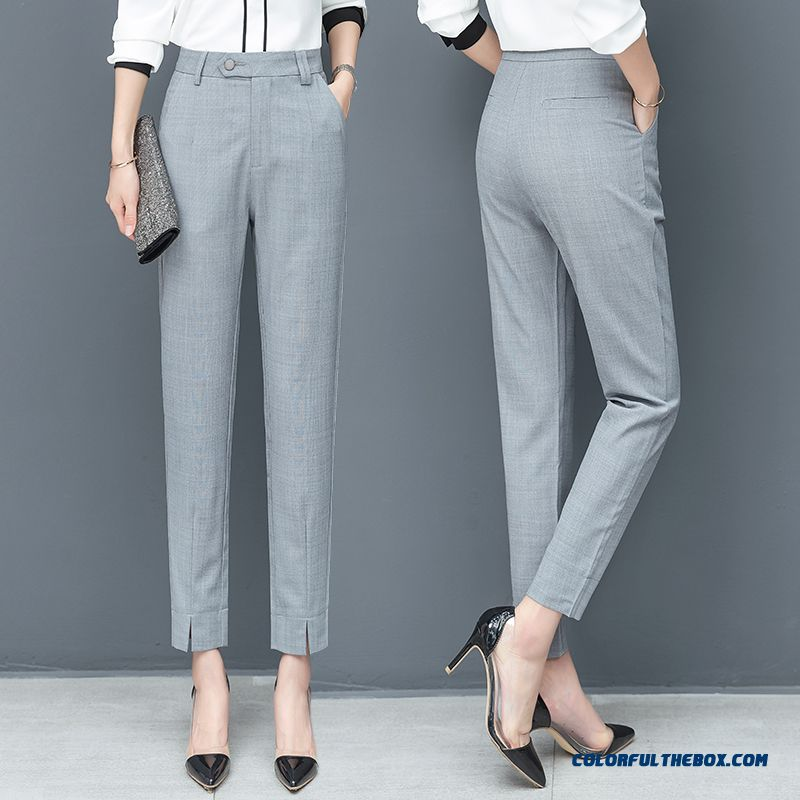 Pants Thin Professional Harlan Europe Skinny New Gray Straight Pants Ninth Pants Leisure Women's High Waist Summer