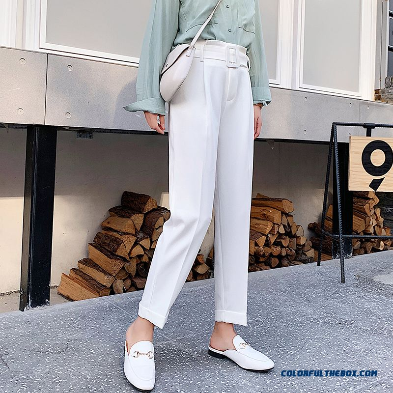 Pants Thin Women's Leisure White 2019 New Suit Pants Loose Tooling Straight