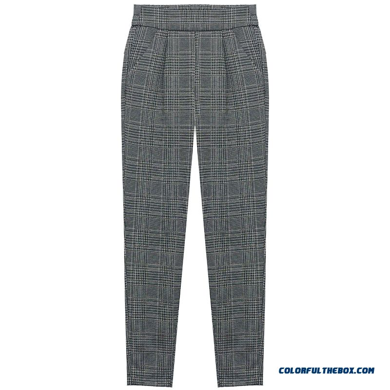 Pants Trousers Check Spring Summer New Gray Pants Retro Leisure Checks Women's Harlan Loose Thin 2019