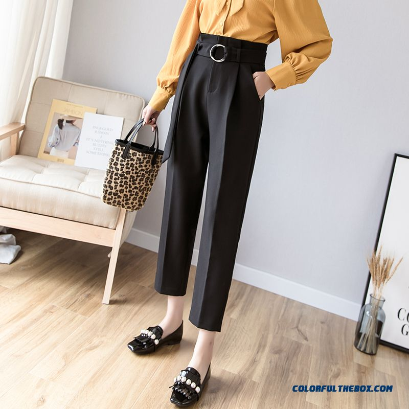 Pants Women's 2019 High Waist Leisure Harlan Ninth Pants Chalaza Summer New Europe All-match Thin Skinny Suit Black