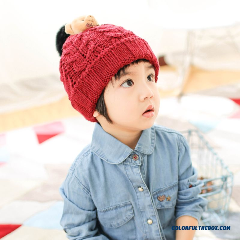 d02c171a86b Parent-child Baby Pull Head Wool Cap Korea 1-5 Year-old Girls