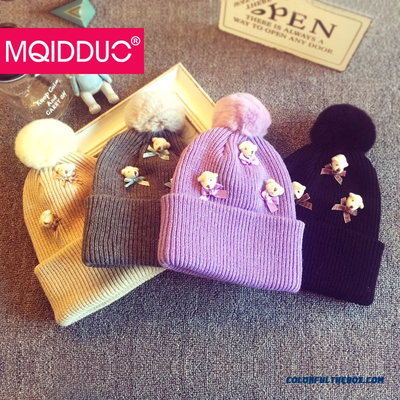 0492a7a4302 Cheap Parent-child Design Autumn And Winter Wool Cap Teddy Bear Knit Hat  Baby Kids Hair Bulb Kids Hats Girls Sale Online
