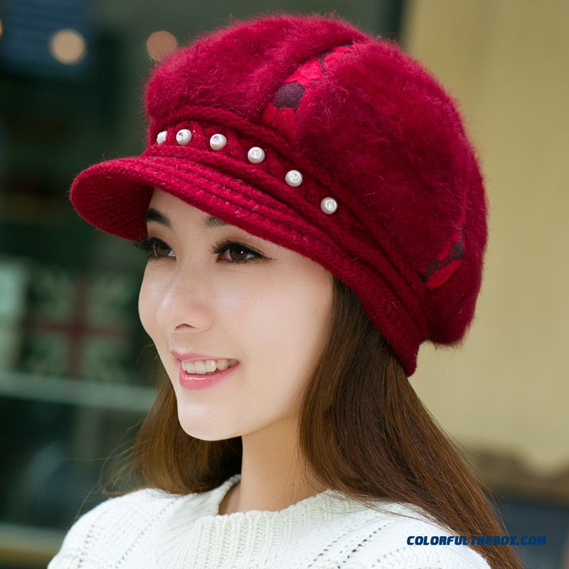 Pearl Decoration Around Hats Ear Protect Of Function Berets Wool Knitted Cap Women Accessories