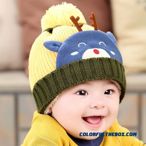 Perfect Christmas Lovely Deer Velvet Protection Ear Kids Children's Cartoon Pull Head Wool Cap Thickened For Girls