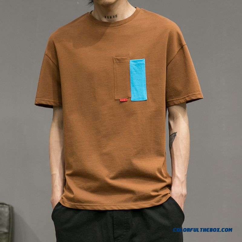 Personality Brown 2019 T-shirt Short Sleeve Pocket Fashion Summer Men's Trend New