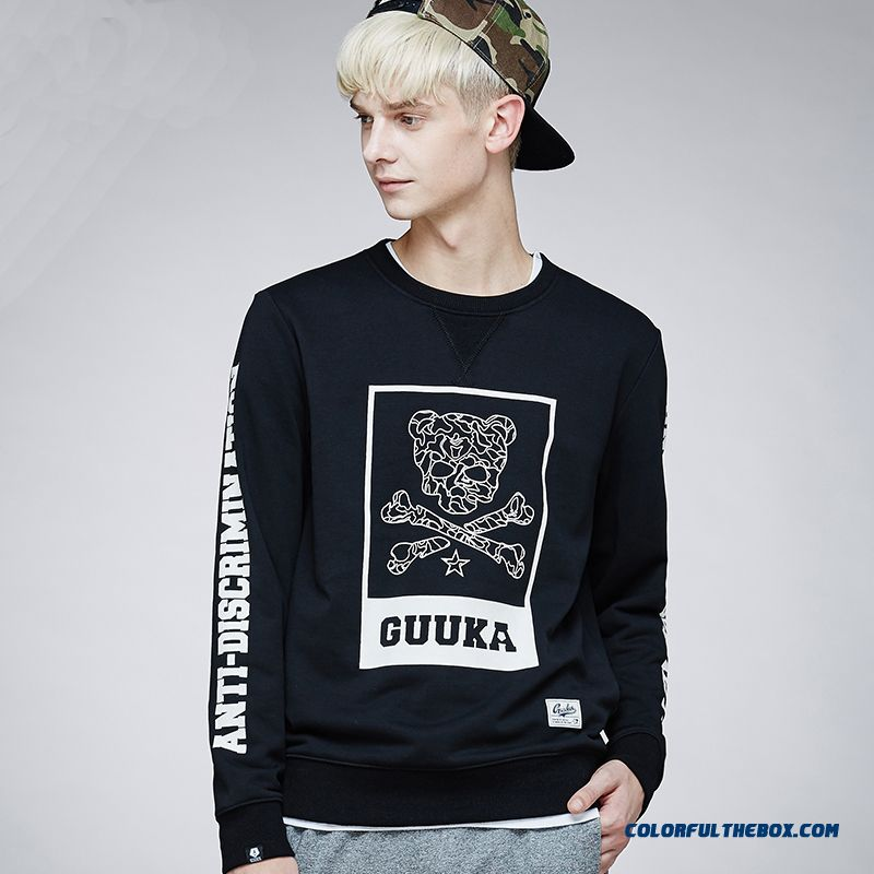 Personalized Skull Printed Round Neck Sweatshirts Men Clothing Pullover Long-sleeved Fashion