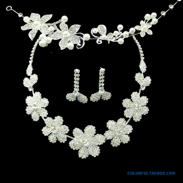 Petal Crystal Necklace Headwear Bridal Jewelry Set Wedding Photo Studio Photography Accessories Bridal Fine Jewelry For Women