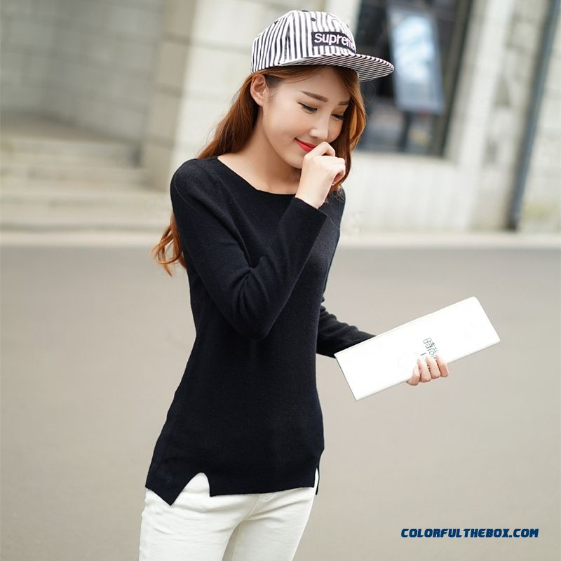 Pink Grey White Black Women Sweater Round Neck Loose Pull Blouson Bottoming Shirt Slim Sweater Coat