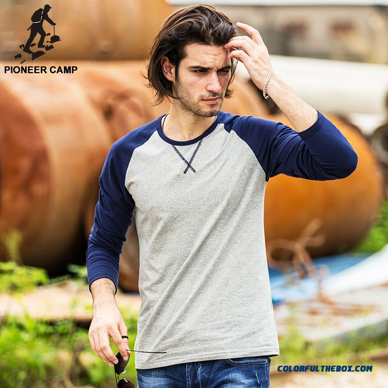 Pioneer Camp 2016 Autumn Long Sleeve T Shirt Men Slim Fit Men Casual Long Tee Shirts Long-sleeve T-shirts For Men O-neck 522089