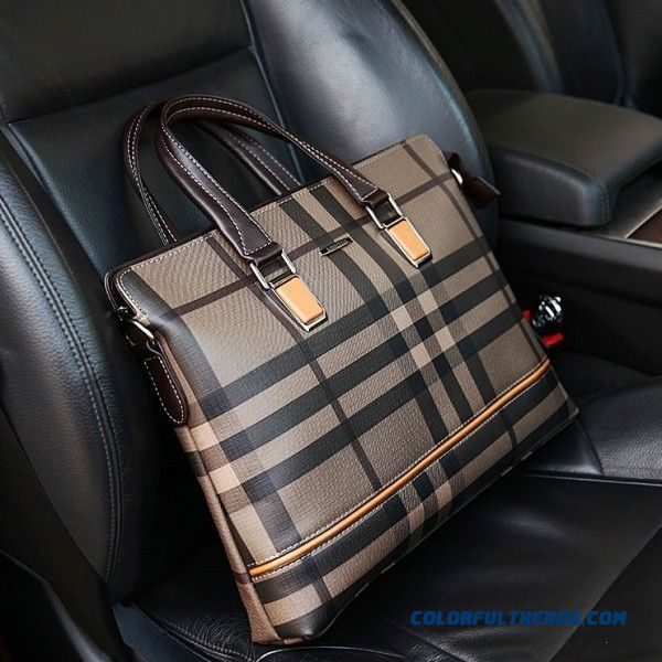 Plaid Business Men's Bag High-end Men's Handbag Briefcase Horizontal Style Of Leather Casual Business