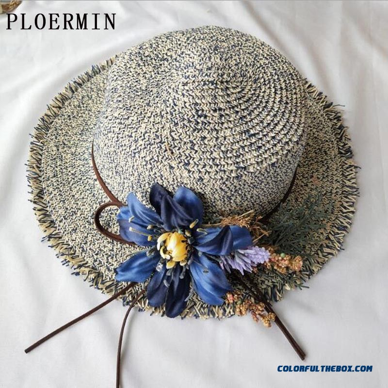 Ploermin Women Sun Hat 2019 New Unedged Flat Top Flowers Flat Head Straw Hat Lady Wide Eaves Sun Protection Visor Summer Hat Cap