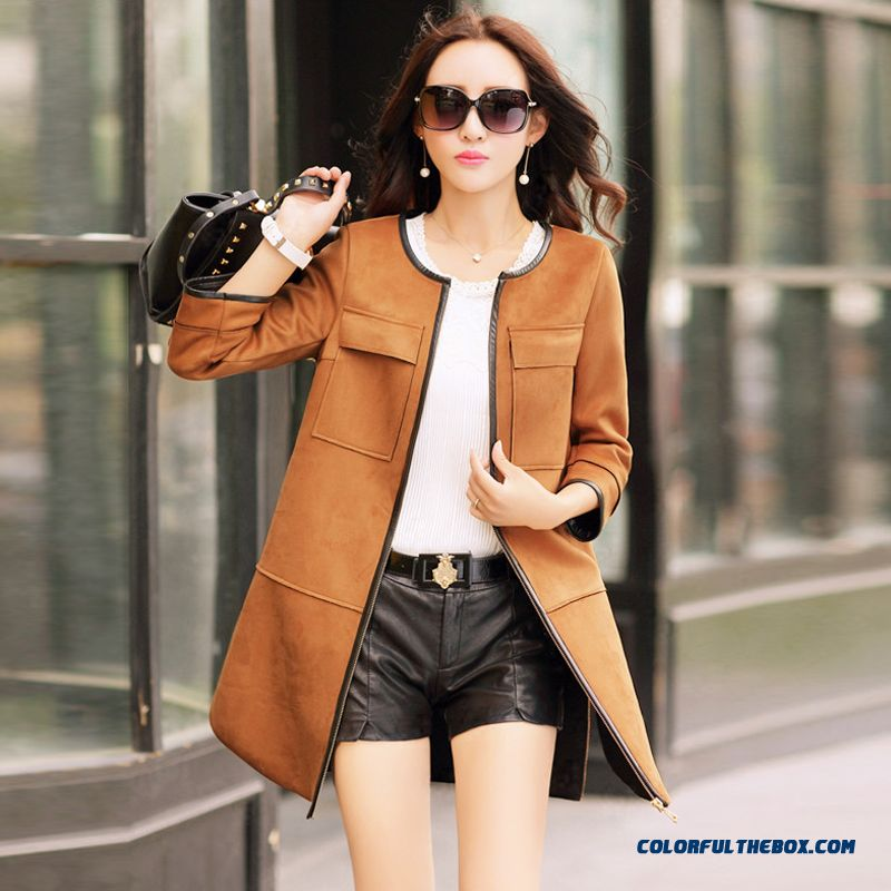 Cheap Plus Size Windbreaker Suede Coat Korean Style Slim Women ...