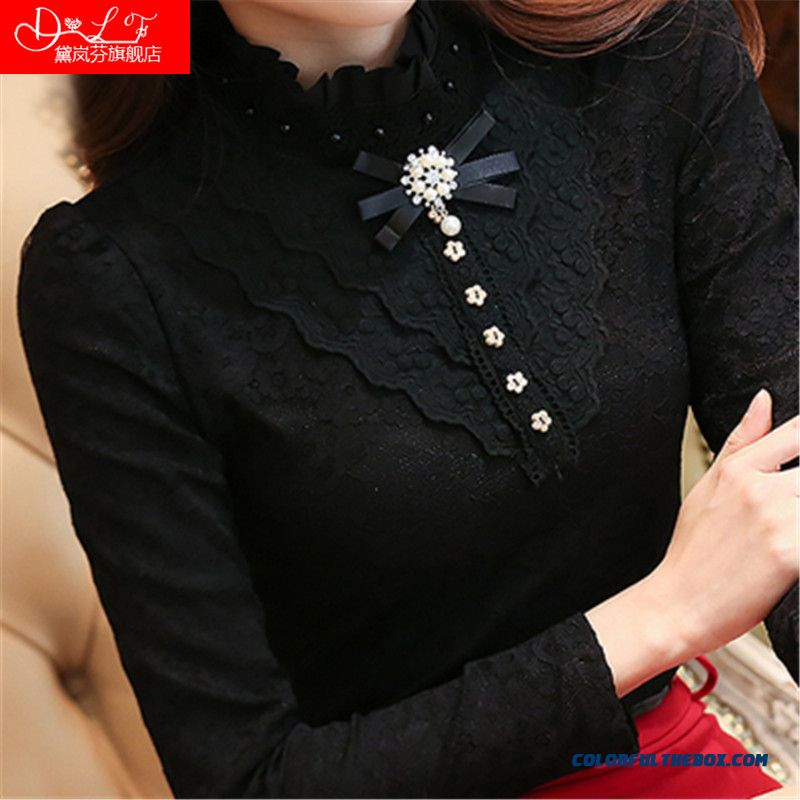 Plus Velvet Lace Shirt Stand Collar Shirt Women Thickening Long Sleevet Slim