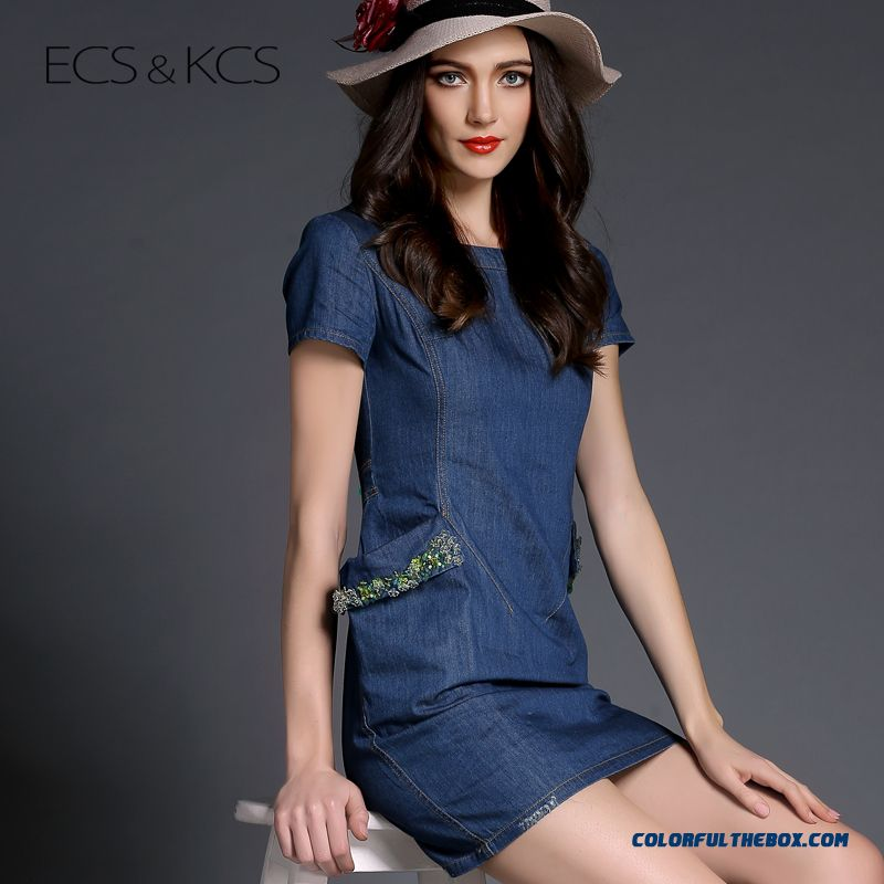 Pocket Medium Style Loose Denim Short Sleeve Women Dress Fashion