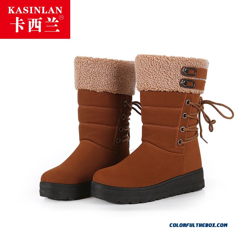 Popular In European And American Warm Women Snow Boots Lambswool Warm Plus Cotton Shoes