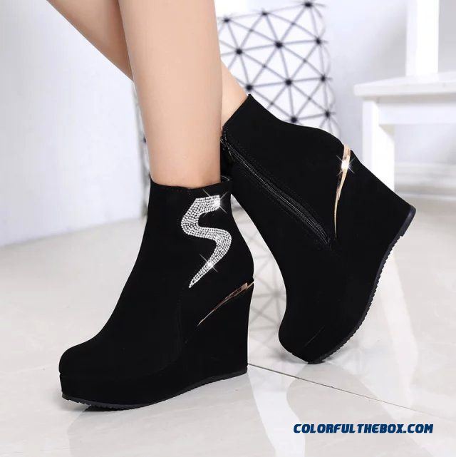 Popular In European And American Wedge Heel Thick Bottom Elevator Shoes Inside Women Boots