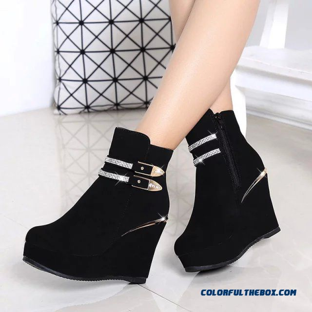 309c2b09e9d1 ... Popular In European And American Wedge Heel Thick Bottom Elevator Shoes  Inside Women Boots