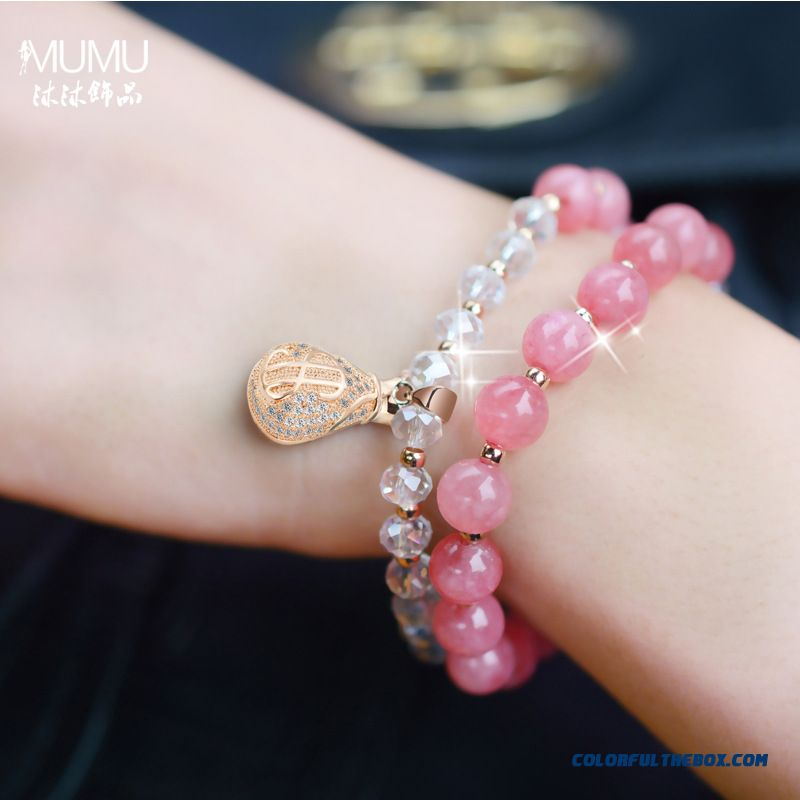 Popular Women Fine Jewelry Double Crystal Purse Bracelet Fashion Beaded Gift - more images 4