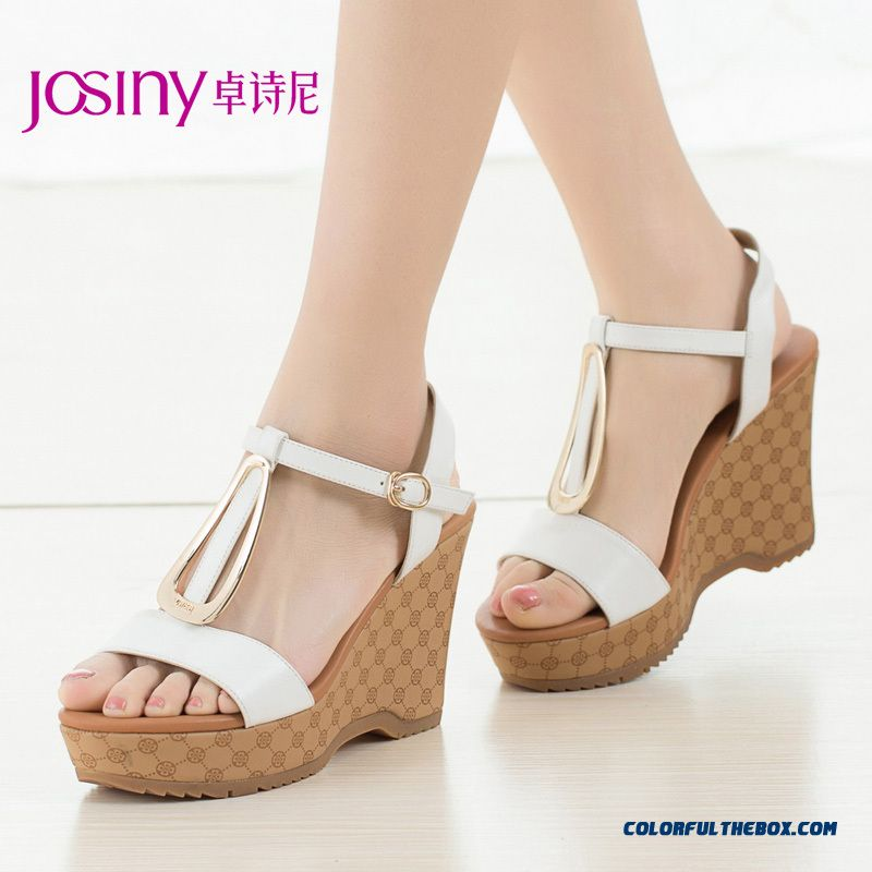 Pretty Buckle Wedge Heel Open-toed Sandals Higher Heel Women Shoes With Sequined